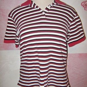 Red White Black Stripe Golf Polo Stretch Shirt L